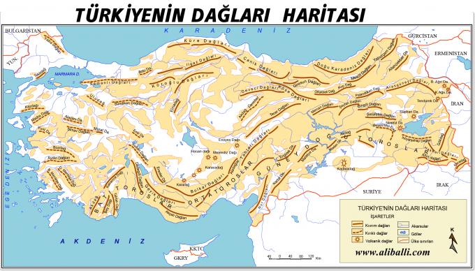 Türkiye'nin Dağları Haritası 2 – Türkiyenin Dağları Haritası