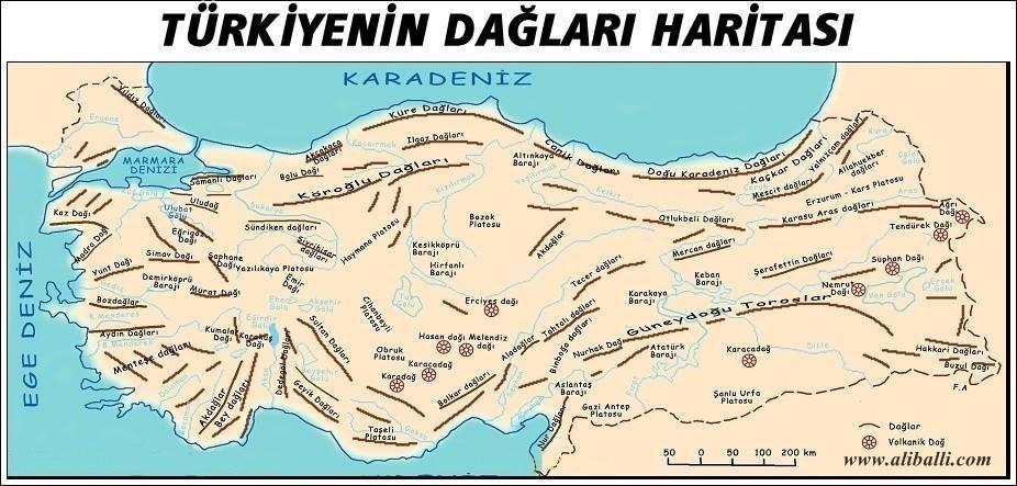 Türkiye'nin Dağları Haritası