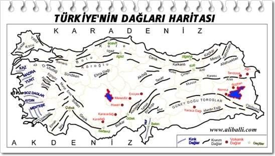 Türkiye'nin Dağları Haritası 3 – turkiyenin daglari