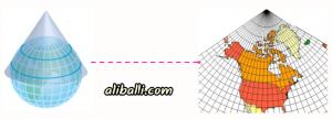 Projeksiyon Yöntemleri 4 – konik projeksiyon