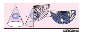 Projeksiyon Yöntemleri 3 – konik projeksiyon